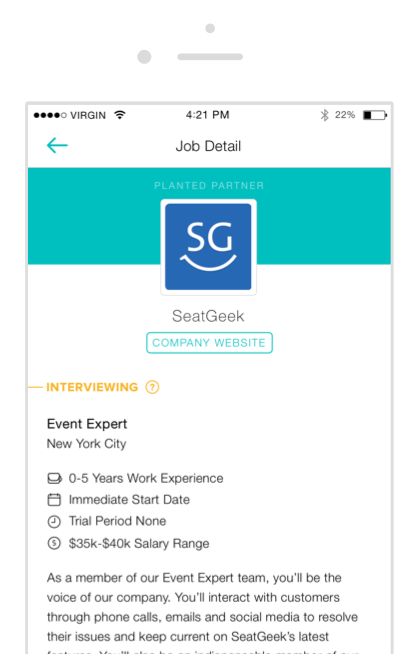 A screenshot of a job description in the Planted app